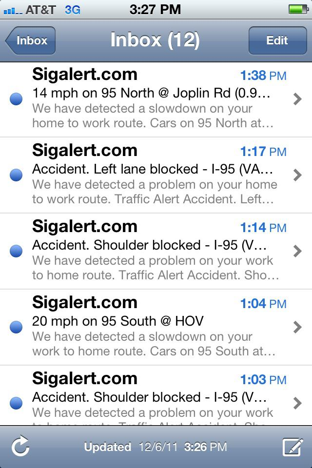 Traffic alerts on a vacation day.